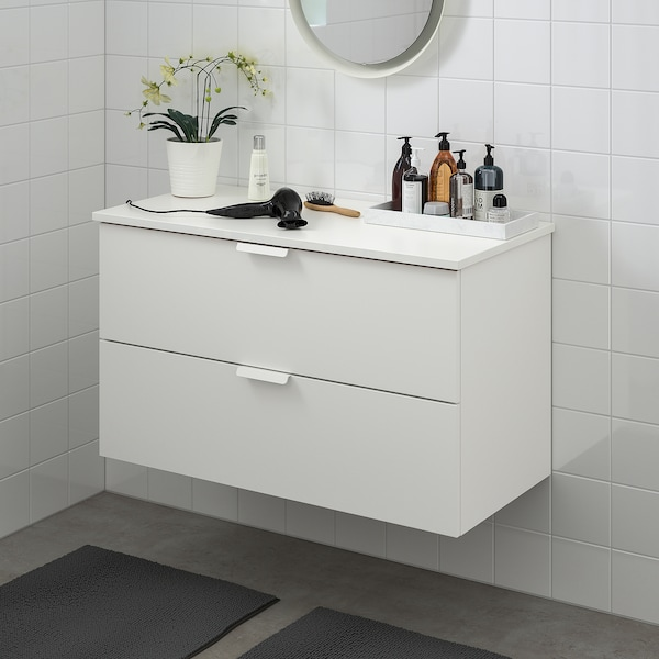 GODMORGON / TOLKEN Moble per lavabo amb 2 calaixos, blanc/blanc, 102x49x60 cm