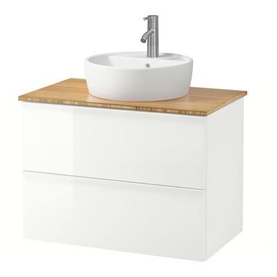 GODMORGON/TOLKEN / TÖRNVIKEN Arm/lavab+tau 45, alta lluentor blanc/bambú aixeta Dalskär, 82x49x74 cm