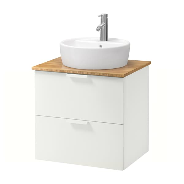 GODMORGON/TOLKEN / TÖRNVIKEN Arm/lavab+tau 45, blanc/bambú aixeta Dalskär, 62x49x74 cm