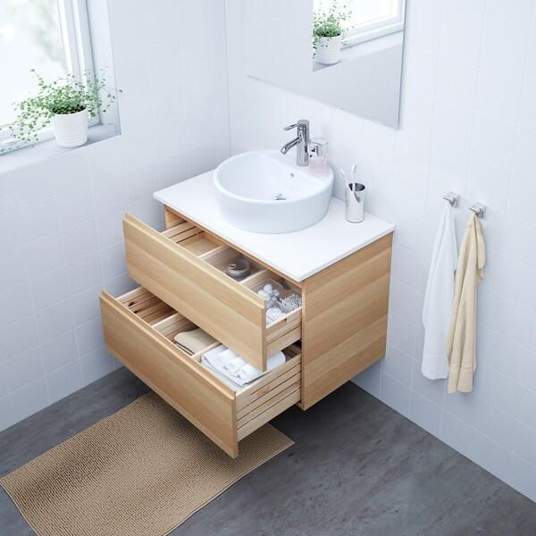 GODMORGON/TOLKEN / TÖRNVIKEN Arm/lavab+tau 45, efecte roure tenyit blanc/blanc aixeta Dalskär, 82x49x74 cm