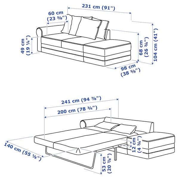 GRÖNLID Sofà llit, 3 places, +extrem obert/Ljungen vermell clar