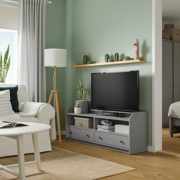 HAUGA Banc de TV, gris, 138x36x54 cm