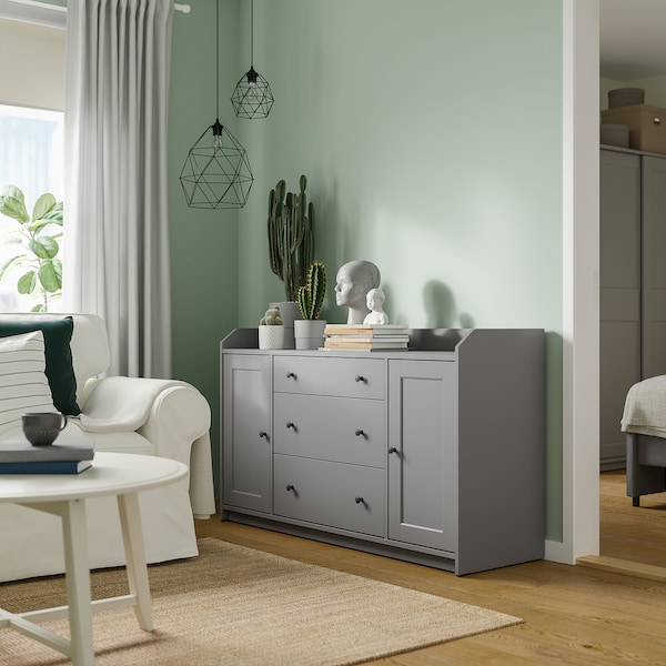 HAUGA Bufet, gris, 140x84 cm
