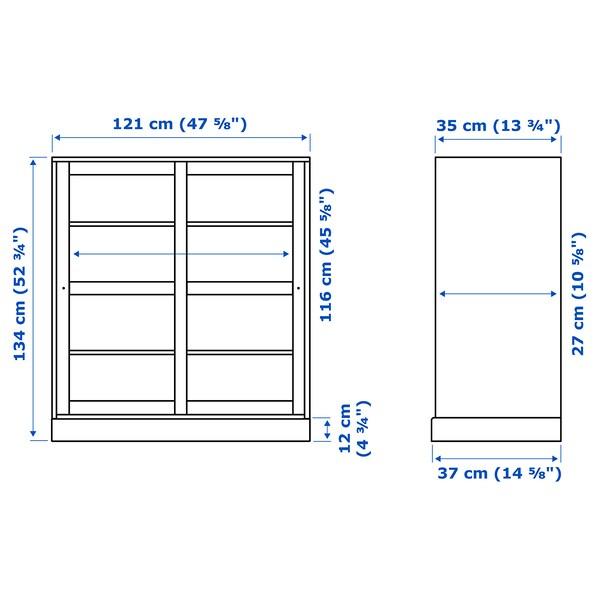 HAVSTA Vitrina am sòcol, vidre transparent blanc, 121x37x134 cm