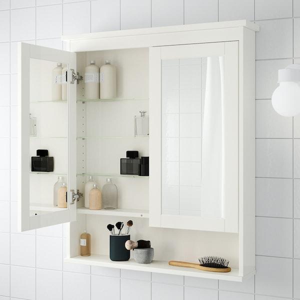 HEMNES Armari de mirall amb 2 portes, blanc, 83x16x98 cm