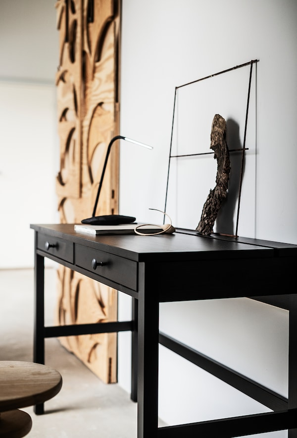 HEMNES Escriptori amb 2 calaixos, negre-marró, 120x47 cm