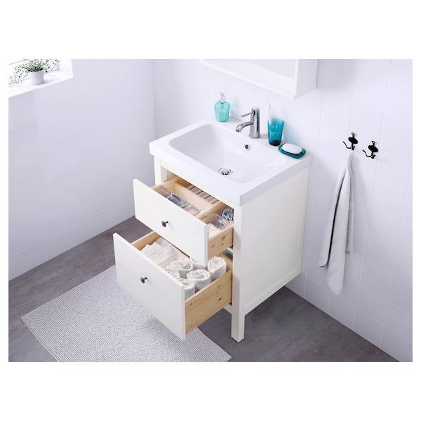 HEMNES / ODENSVIK Moble per lavabo amb 2 calaixos, blanc/aixeta Runskär, 63x49x89 cm