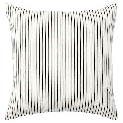 INGALILL Funda de coixí, blanc/gris fosc a ratlles, 50x50 cm