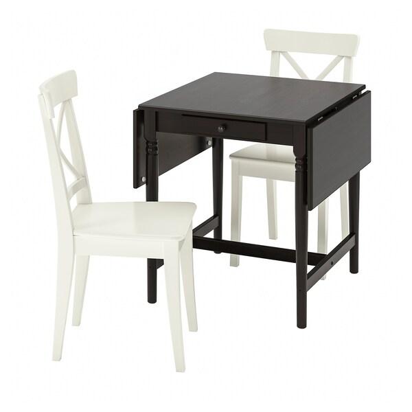 INGATORP / INGOLF Taula i 2 cadires, negre-marró/blanc, 65/123x78 cm