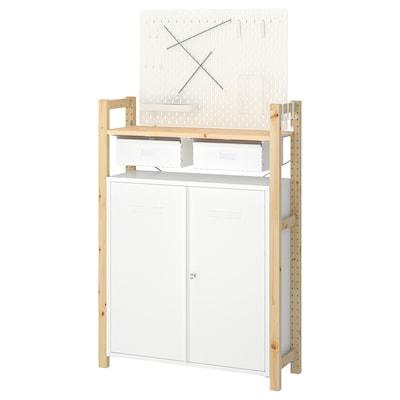 IVAR 1 secció/lleixes/armari, Pi pinyer blanc, 89x30x124 cm
