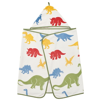 JÄTTELIK Tovallola amb caputxa, dinosaure/multicolor, 140x70 cm