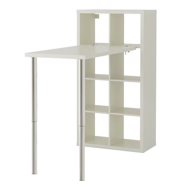 KALLAX Combinació d'escriptori, blanc/cromat, 77x147x159 cm