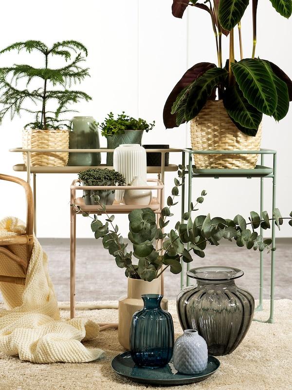 KRYDDPEPPAR Pedestal per plantes, interior/exterior rosa, 54 cm