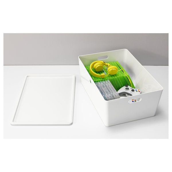 KUGGIS Caixa amb tapa, blanc, 37x54x21 cm