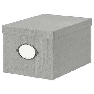 KVARNVIK Caixa amb tapa, gris, 25x35x20 cm