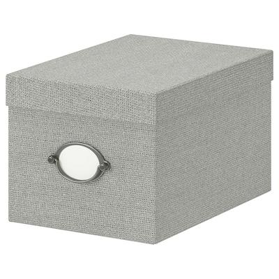 KVARNVIK Caixa amb tapa, gris, 18x25x15 cm