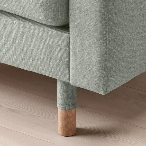 LANDSKRONA Sofà de 3 places, amb chaise longue/Gunnared verd clar/fusta