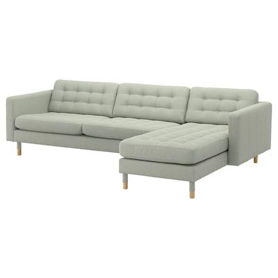 LANDSKRONA Sofà de 4 places, amb chaise longue/Gunnared verd clar/fusta