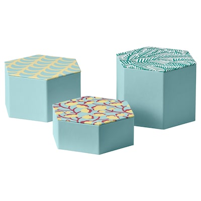 LANKMOJ Caixa decoració, joc de 3, blau clar/amb disseny
