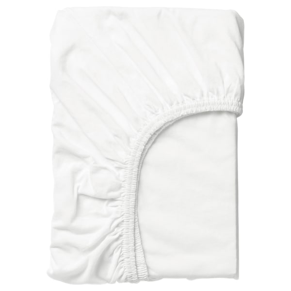 LEN Llençol ajustable, blanc, 80x165 cm