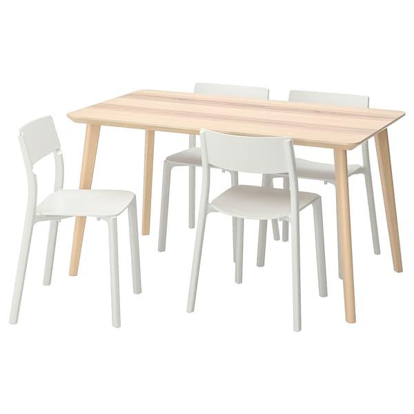 LISABO / JANINGE Taula i 4 cadires, fullola de freixe/blanc, 140x78 cm