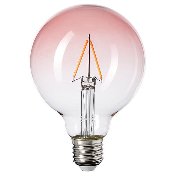LUNNOM Bombeta LED E27 80 lm, globus vidre rosa clar