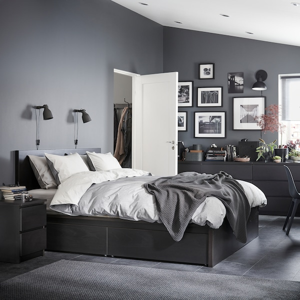 MALM Estructura de llit alt+4 calaixos, negre-marró/Leirsund, 140x200 cm