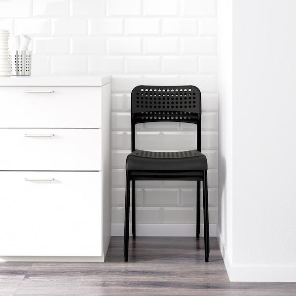 MELLTORP / ADDE Taula i 4 cadires, blanc/Negre, 125 cm