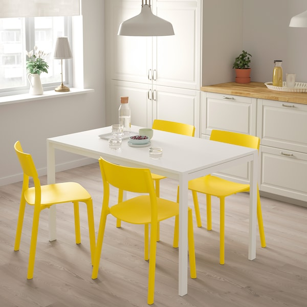 MELLTORP / JANINGE Taula i 4 cadires, blanc/groc, 125 cm