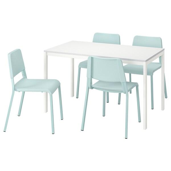 MELLTORP / TEODORES Taula i 4 cadires, blanc/turquesa clar, 125 cm