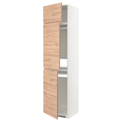METOD Aa fri/con 3p, blanc/Voxtorp efecte roure, 60x60x240 cm