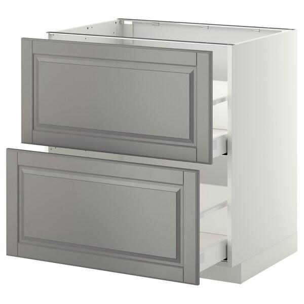 METOD Ab 2f/2c, blanc/Bodbyn gris, 80x60 cm