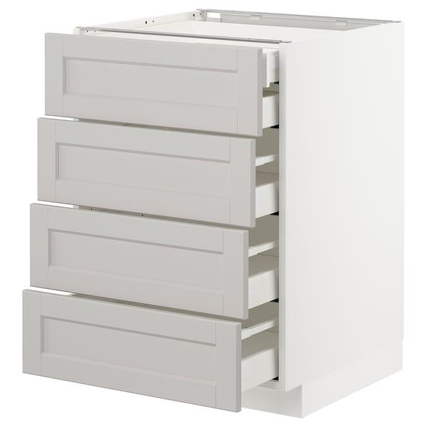 METOD Ab 4f/5c, blanc/Lerhyttan gris clar, 60x60 cm