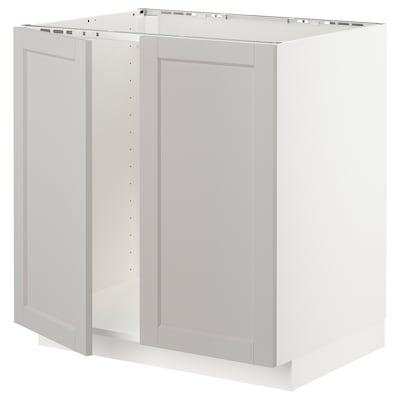 METOD Ab aig 2p, blanc/Lerhyttan gris clar, 80x60 cm