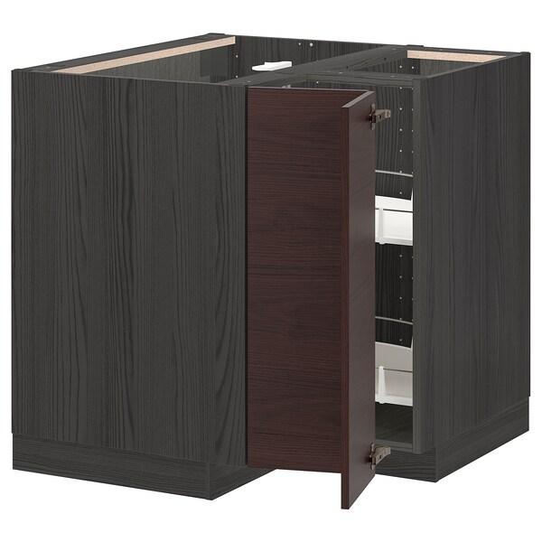 METOD Ab cant cist gir, Negre Askersund/marró fosc efecte freixe, 88x88 cm