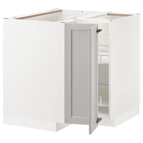 METOD Ab rac cist gir, blanc/Lerhyttan gris clar, 88x88 cm
