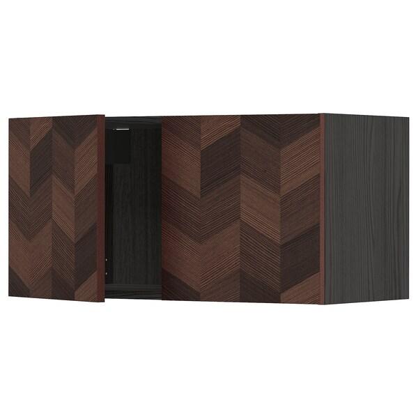 METOD Armari de paret 2portes, Negre Hasslarp/marró amb disseny, 80x40 cm
