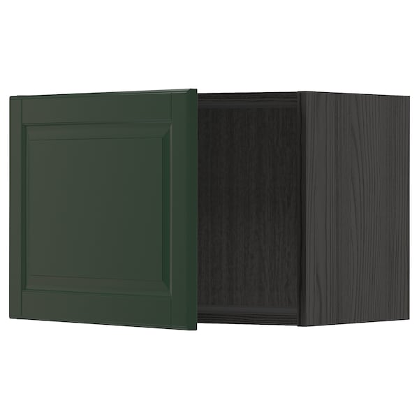 METOD Armari de paret, Negre/Bodbyn verd fosc, 60x40 cm