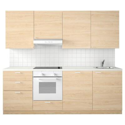 METOD Cuina, blanc Maximera/Askersund freixe, 240x60x228 cm