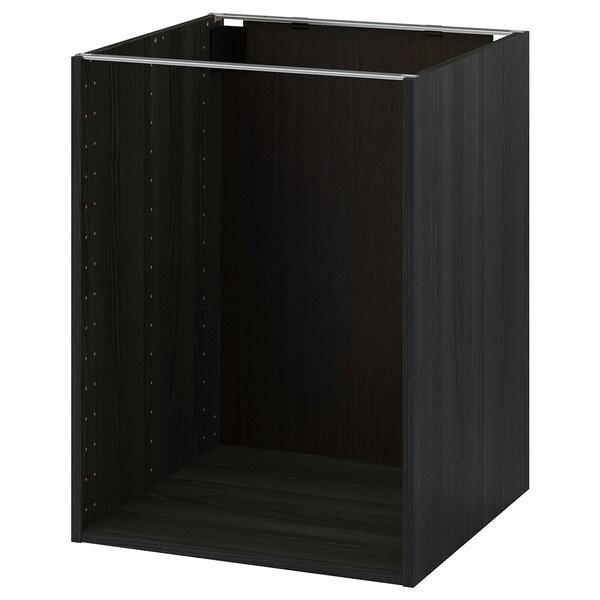 METOD Estructura d'armari baix, efecte fusta Negre, 60x60x80 cm