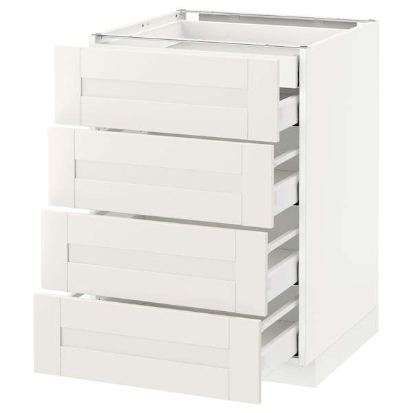 METOD / MAXIMERA Ab 4f/5c, blanc/Sävedal blanc, 60x60 cm