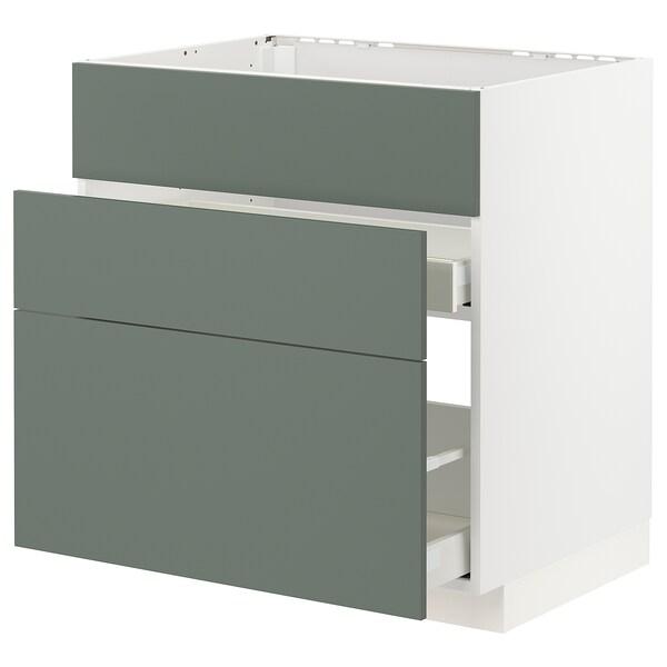 METOD / MAXIMERA Ab aig 3f/2c, blanc/Bodarp verd grisenc, 80x60 cm