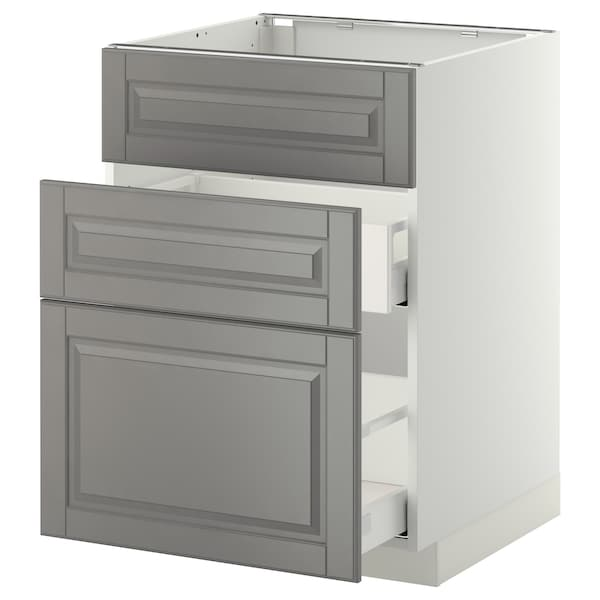 METOD / MAXIMERA Ab aig 3f/2c, blanc/Bodbyn gris, 60x60 cm