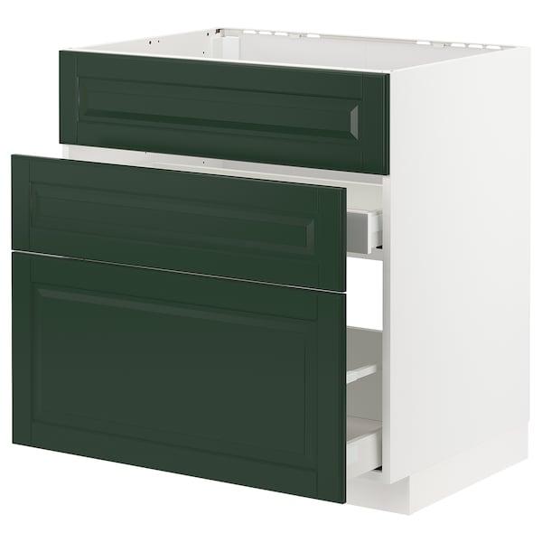 METOD / MAXIMERA Ab aig 3f/2c, blanc/Bodbyn verd fosc, 80x60 cm