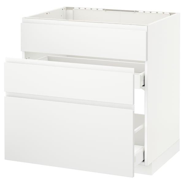 METOD / MAXIMERA Ab aig 3f/2c, blanc/Voxtorp blanc mat, 80x60 cm