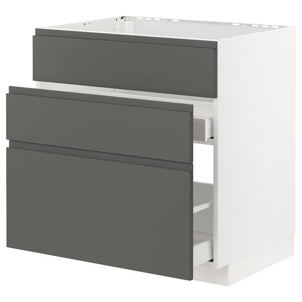METOD / MAXIMERA Ab aig 3f/2c, blanc/Voxtorp gris fosc, 80x60 cm
