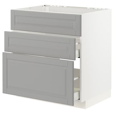 METOD / MAXIMERA Arm bx placa/extractr + clx, blanc/Bodbyn gris, 80x60 cm