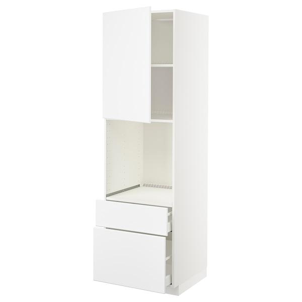 METOD / MAXIMERA Armari alt forn+porta/2calaixos, blanc/Kungsbacka blanc mat, 60x60x200 cm