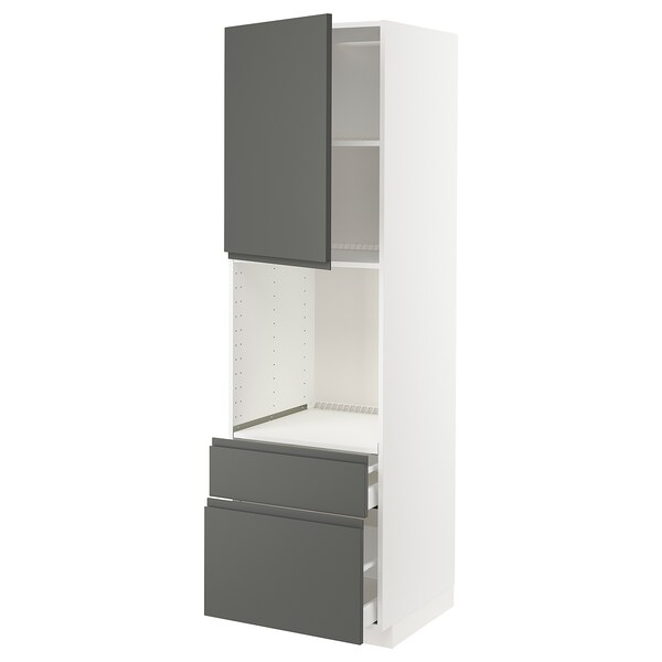 METOD / MAXIMERA Armari alt forn+porta/2calaixos, blanc/Voxtorp gris fosc, 60x60x200 cm