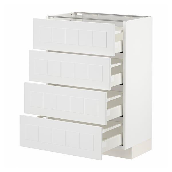 METOD / MAXIMERA Armari baix 4 calaixos/4 fronts, blanc/Stensund blanc, 60x37 cm